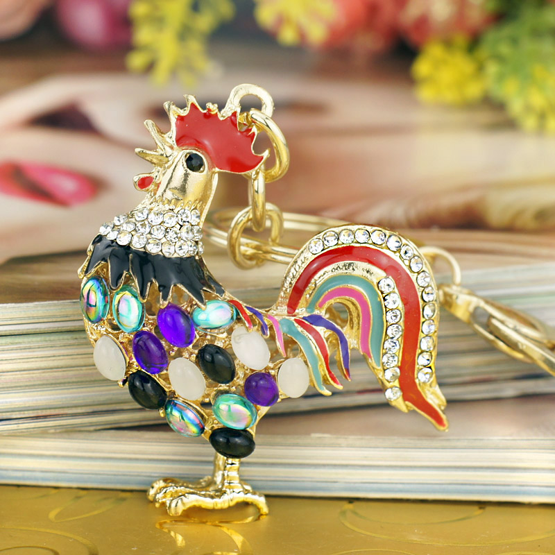 Pretty Cute Opals Cock Rooster Chicken Keychains Crystal Bag Pendant Rhinestone Luxury Key Chains Ring Gift For Women  K131
