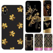 Black Gold Flower Floral Rose Printed For Huawei Mate 9 10 20 P8 P9 P10 P20 P30 Lite Mini Play Pro P smart Plus Z 2017 2019(China)