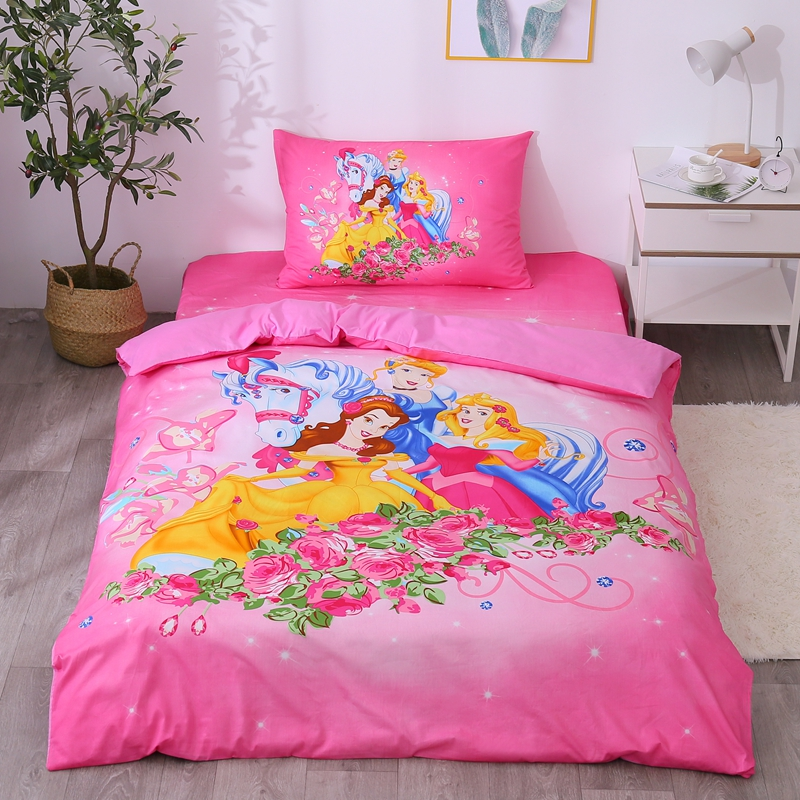 Disney-Hot-Pink-Rapunzel-Cinderella-Bella-Princess-Girls-Bedding-Set-Duvet-Cover-Bed-Sheet-Pillow-Cases