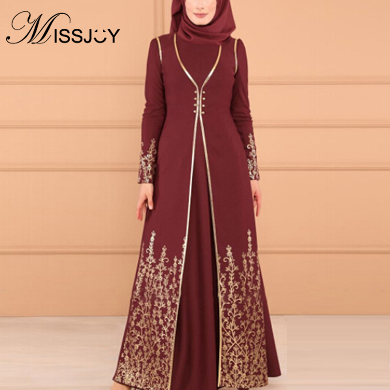 MISSJOY 2019 New Women Dress Muslim Abayas Two Piece Set Printed Arabic Turkish Islamic Clothing Elegant Party Button Dubai Robe