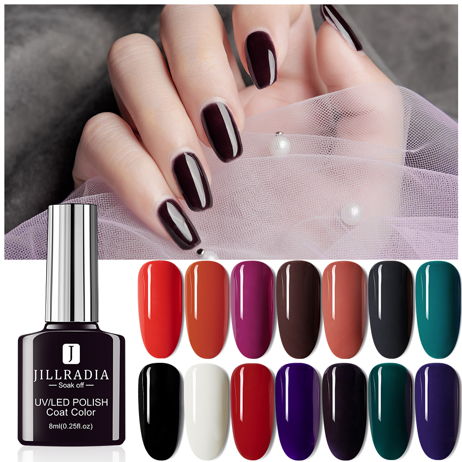 Jillradia Gel Polish UV Nail Lacquer 60 Hot Sale Color Nail Gel Varnish Semi Permanent Soak Off Hybrid Painting For Home Use DIY