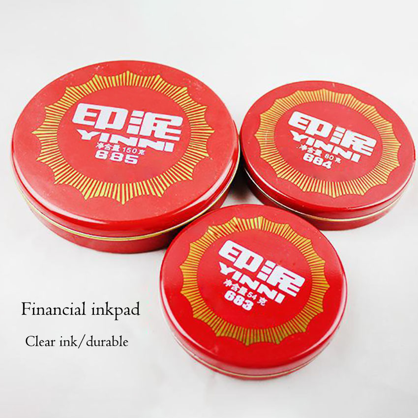 1Pc Red Round Inkpad Portable Office Accounting Tin Box Ink Pad, DIY Scrapbooking Calligraphy Inkpad Stamp Sealing Decoration