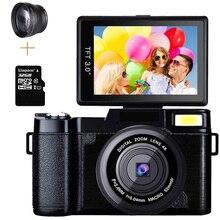 プロ24MPビデオカメラ4Xズーム回転式スクリーンフルhd 1080 1080pブレ軽減一眼レフ写真w/ワイドレンズと32ギガバイトカード