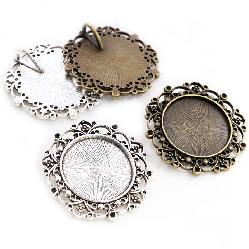 New Fashion 5pcs 25mm Inner Size Antique Silver Plated Baroque Style Cabochon Base Setting Charms Pendant