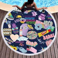 Engraçado verão elemento microfibra toalha de praia dos desenhos animados óculos de sol slipper skate impressão grande toalha de praia redonda para adulto