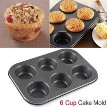 6-Cavity Cupcake Baking Tray Nonstick Cake Baking Mold Tray Carbon Steel Baking Tray Mould 6 Grids