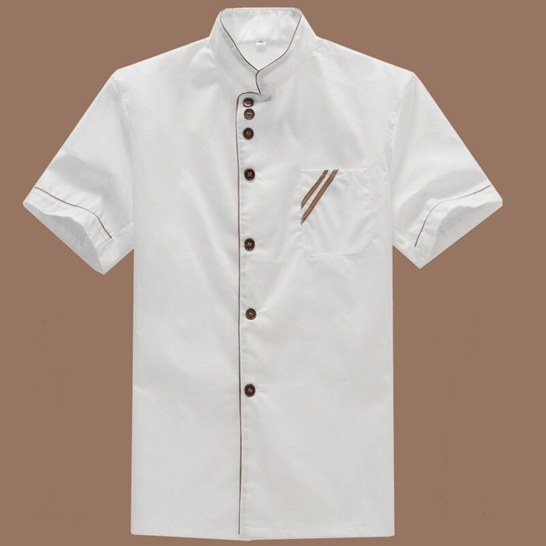 Short Sleeve Solid Breathable Wearable Resin Button Bakery Cooker Uniform White Kitchen Chef Jacket Summer Restaurant Catering