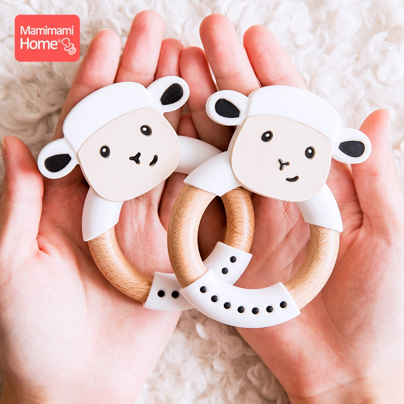 1Pc Baby Wooden Teether Animal Ring Silicone Rodent Beech Wooden Ring Rabbit Ear Pacifier Pendant Nurse Accessories Gift For Kid