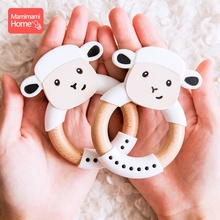 Mamihome Baby Wooden Teether Animal Ring Silicone Rodent Beech Wooden Blank Rabbit Ears Children'S Goods Toys Pacifier Pendant стоимость