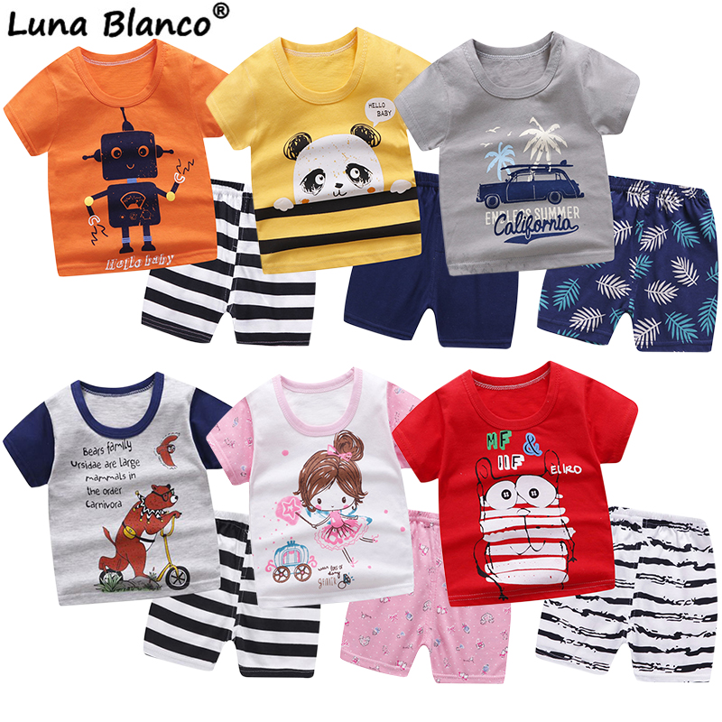 6M-6 Years Old 2pcs/set Baby Kids Suits Summer Children's Short Sleeve Short Pants Suit Cotton For Boys And Girls Child Clothing