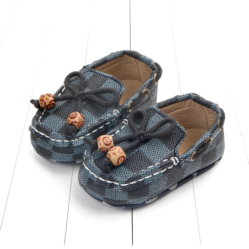 New fashion high quality newborn baby boy shoes moccasins Patch Slip-On plaid casual new born infant toddler baby girl shoes 2