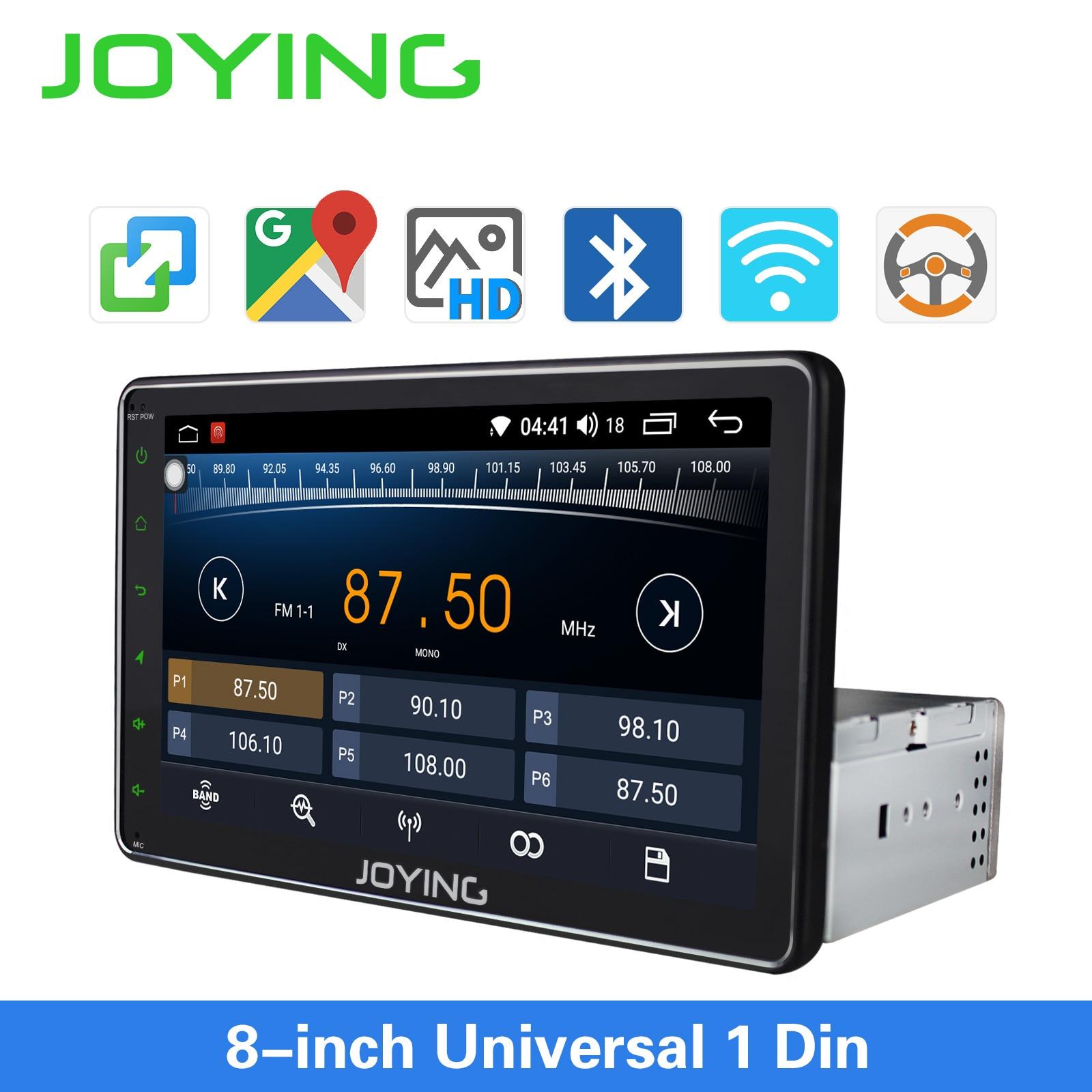 JOYING Single Din Universal Car Radio 8 Inch IPS Screen Autoradio Head Unit GPS Suport Mirror Link& Fast Boot&s*back Up Camera