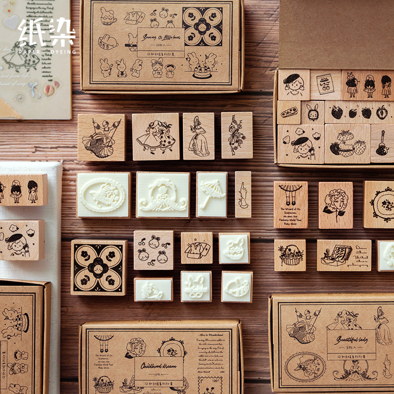 8-11Pcs\DIY Cute Creative Fun Personality Vintage Wood Stamp Seal Diary Calendar Scrapbook Student Stationery Office Supplies