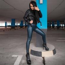 Pants Leggings Straight Leg Scrunch Fit Melody Navy-Blue Wet-Look Glossy