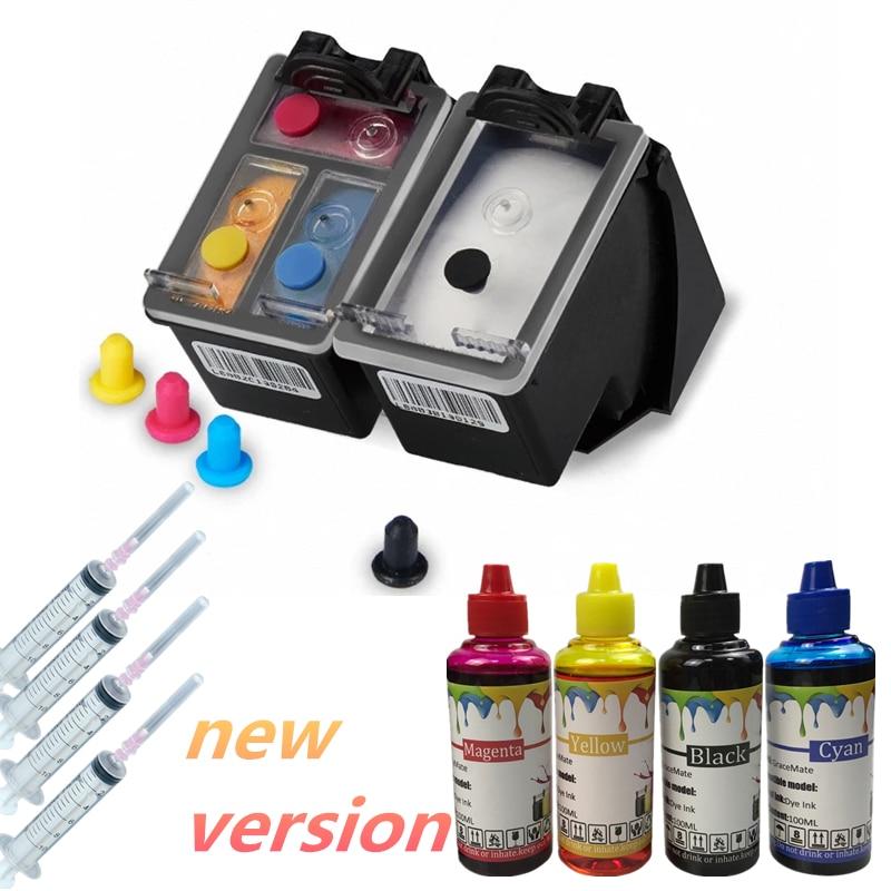 New Version 65 Refillable Ink Cartridge+400ML Refill Ink For HP Deskjet Envy 2620 2630  5030 5020 5032 3720 3730 5010 Printer