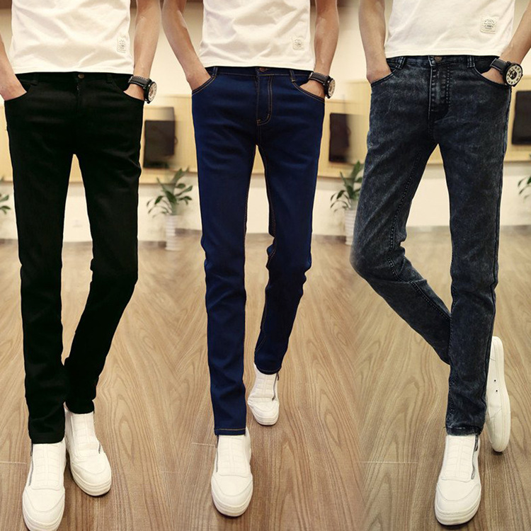 New Style Autumn Korean-style Jeans Young MEN'S Black And White With Pattern Slim Models Skinny Trousers Students Elasticity MEN
