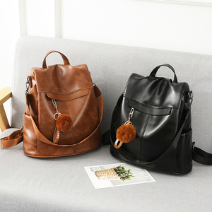 Image 2 - Women Backpack High Quality Vintage Oil Wax PU Leather Bagpack 2020 New Waterproof Anti theft Ladies Leisure Travel Back Pack
