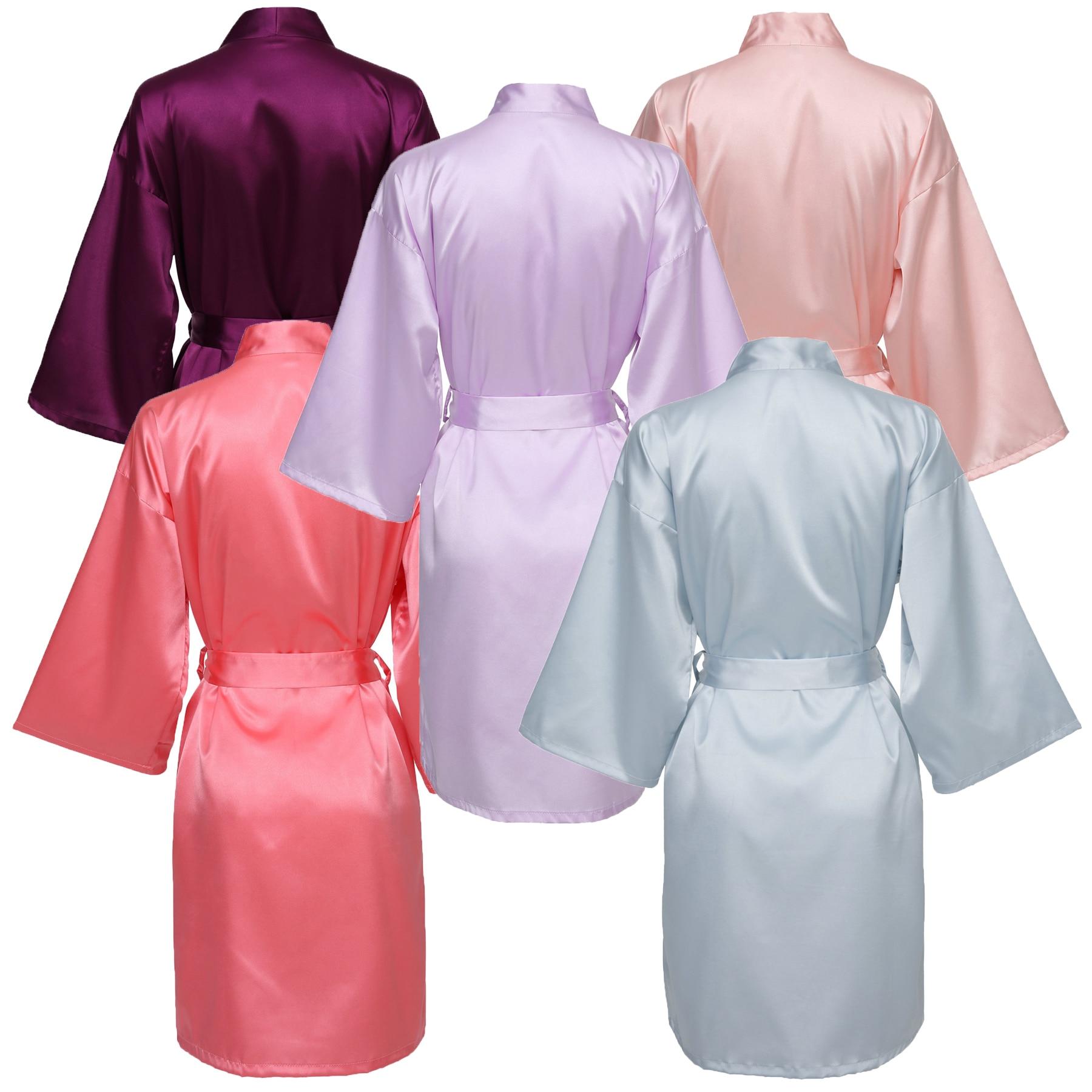 YUXINBRIDAL Colors Golden Font Gown Robes Satin Silk Bride Robe Wedding Bridesmaid Dressing White