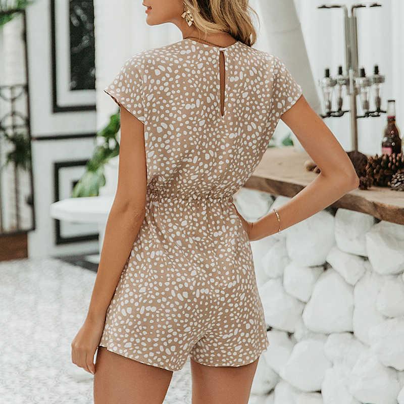 Affogatoo Sexy elegante bogen ärmel breite bein frauen strampler kurze overalls beiläufige lose fliege playsuits leopard kurzen romper