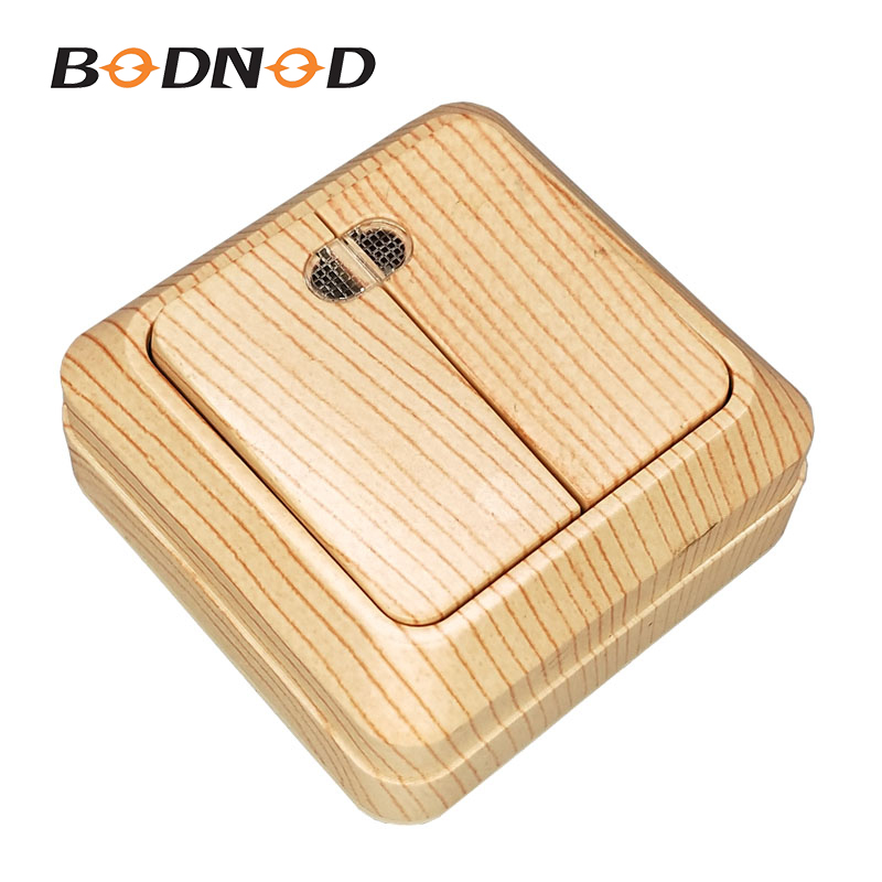Light Switch Two Gang Switch Indicator Wood Grain European Light Beech Color Inset Wall DIY 10A 250V Legrand Schneider(China)