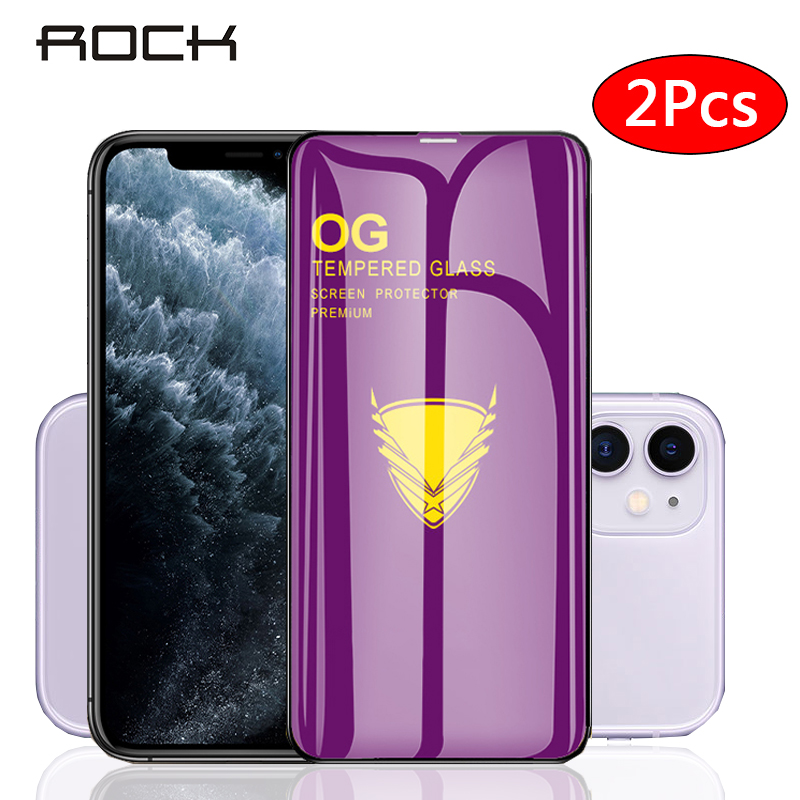Rock 2pcs Tempered Glass For Iphone 11 11pro Max Screen Protector Full Cover Protective Glass For Iphone Xs X XR 7 8 Plus Film