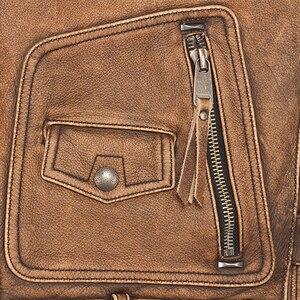 Image 5 - ヴィンテージブラウン厚いオートバイベスト 100% 本物の牛革メンズバイカー革ベストモト革チョッキノースリーブジャケット M462