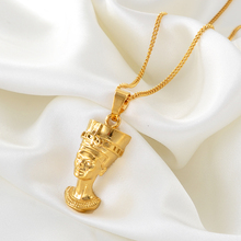 Anniyo Ancient Queen Egyptian Pendant Necklaces Gold Plated Egypt Nefertiti Head Portrait Jewelry African #240406