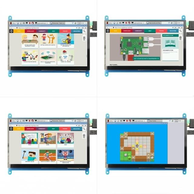 7 cal 1024*600 IPS pojemnościowy Panel dotykowy moduł TFT LCD ekran dla Raspberry Pi 3 B +/4b