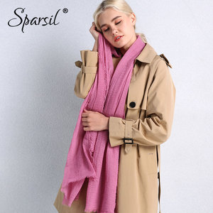 Image 5 - Sparsil Spring New Cotton Women Scarf Solid Color Crumple Retro Scarves With Short Tassels 180cm Big Shawls Muslim Female Hijabs