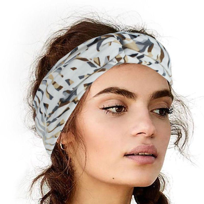 Women Summer Sport Wide Headband Bohemian Tropical Leaves Printed Hairband Crisscross Twist Knotted Running Head Wrap