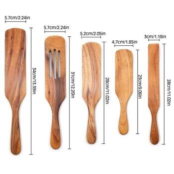 Naczynia do gotowania drewniane zestaw naczyń kuchennych zestawy kuchenne non-stick drewniane do żywności naczynia łopatka z rowkiem Spurtle łopatka zestawy tanie i dobre opinie CN (pochodzenie) Tokarstwo Drewna K1G7Q9NSX7947