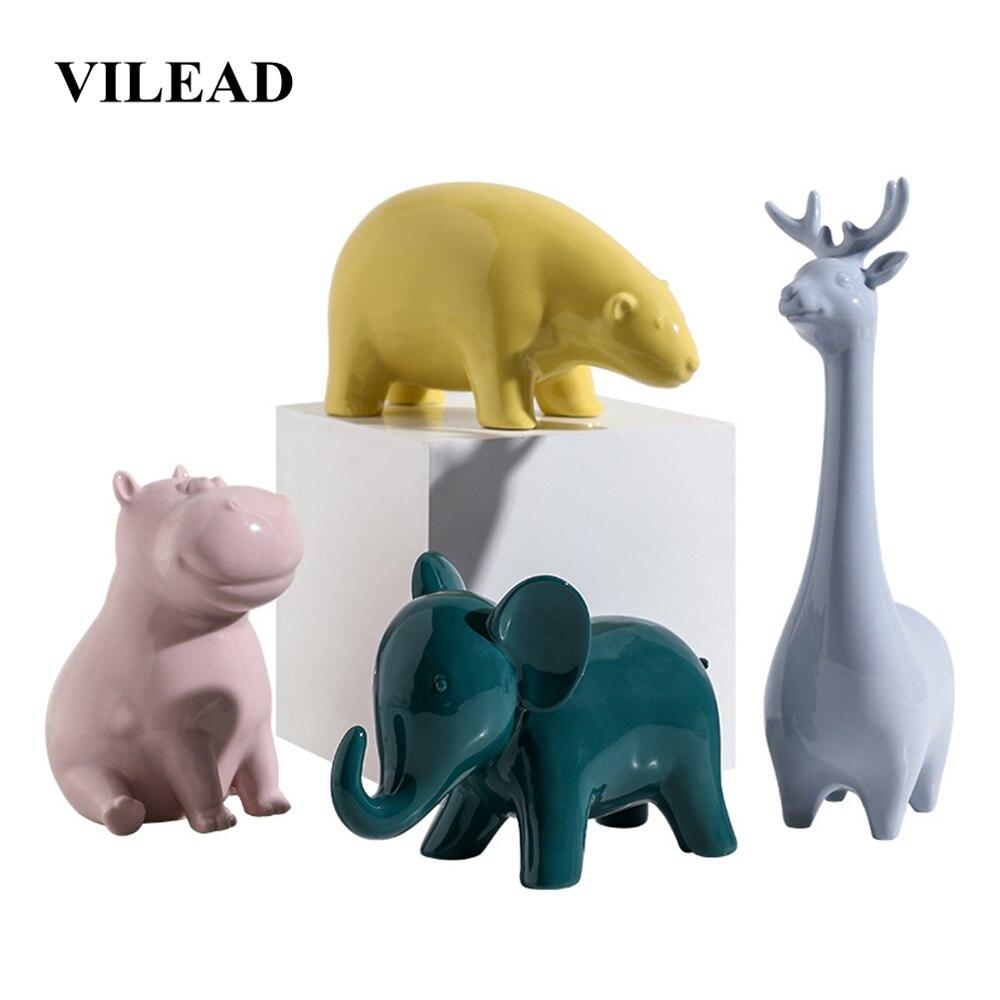 VILEAD 10cm 25cm Ceramic Animal Figurines Creative Home Children's Room Desktop Decoration Gift Crafts Accessories Ornament Kids