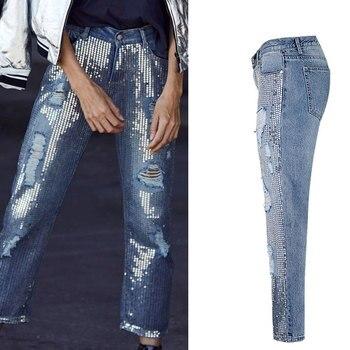Женские винтажные рваные джинсы до щиколотки с блестками, большие размеры, женские джинсовые брюки, женские брюки
