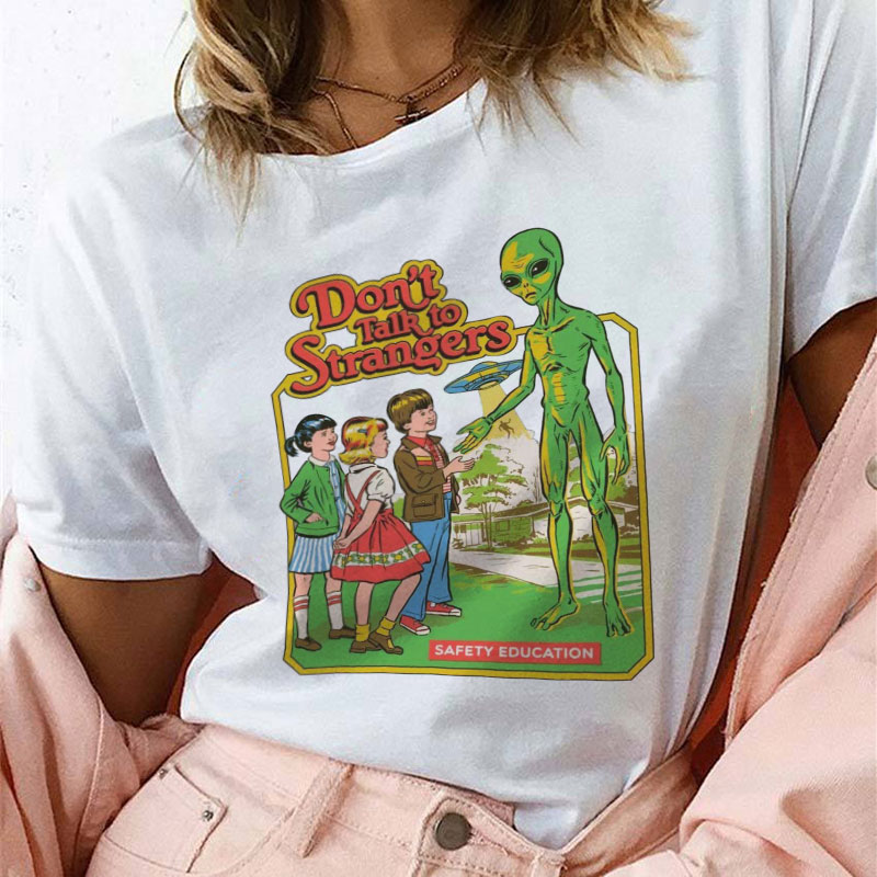 90s Vintage Clothes Dont Talk To Strangers Tshirt Funny Tops 80s Tumblr Tees O-neck Short Sleeve T-shirt White Female T-shirt