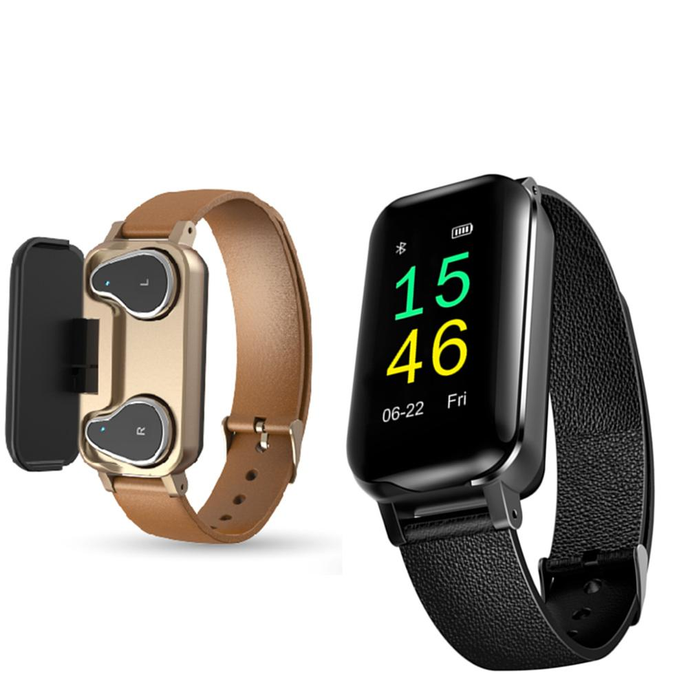 T11 TWS Smart Binaural Bluetooth Headphone Fitness Bracelet Heart Rate Monitor Smart Wristband Sport Watch Men Women PK i30 tws