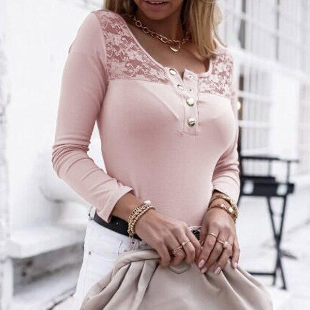 2021 Fashion Spring Ladies Mesh Lace Blouse Elegant Long Sleeve Autumn Shirt Pullover Women Casual O Neck Button Slim Tops Blusa 2