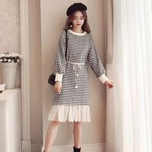 Женское повседневное шерстяное платье свободное средней длины