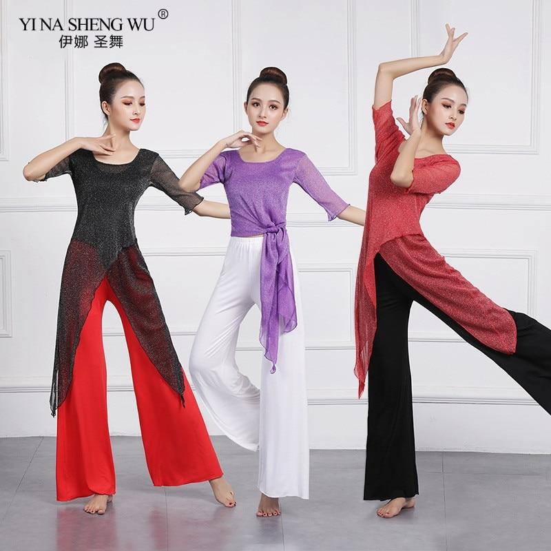 New Women Belly Dance Wear Practice Costume 2pcs Set Clothes Half Sleeve Top Pants Oriental Indian Dancing Beginners Training