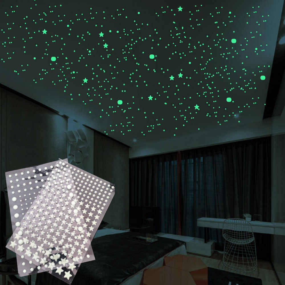 202 pz/set 3D Bolla Stelle Luminose Dots Wall Sticker camera dei bambini camera da letto decorazione della casa della decalcomania Glow in the dark FAI DA TE adesivi