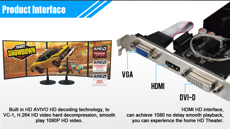 Original GPU Veined Graphics Cards With 625 MHZ Core Speed For ATI Radeon Gaming 7