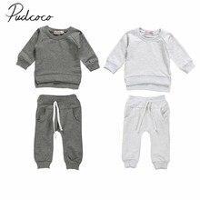 Коллекция года, весенне-осенняя одежда для малышей, свитер футболка с длинными рукавами для новорожденных и детей топ+ длинные штаны 2 предмета, твердые наряды, одежда