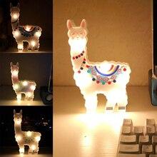 New 6leds Cute Bedside Night Lamp Path Battery Powered Gift Desktop Hanging Decorative Light Alpaca Shape