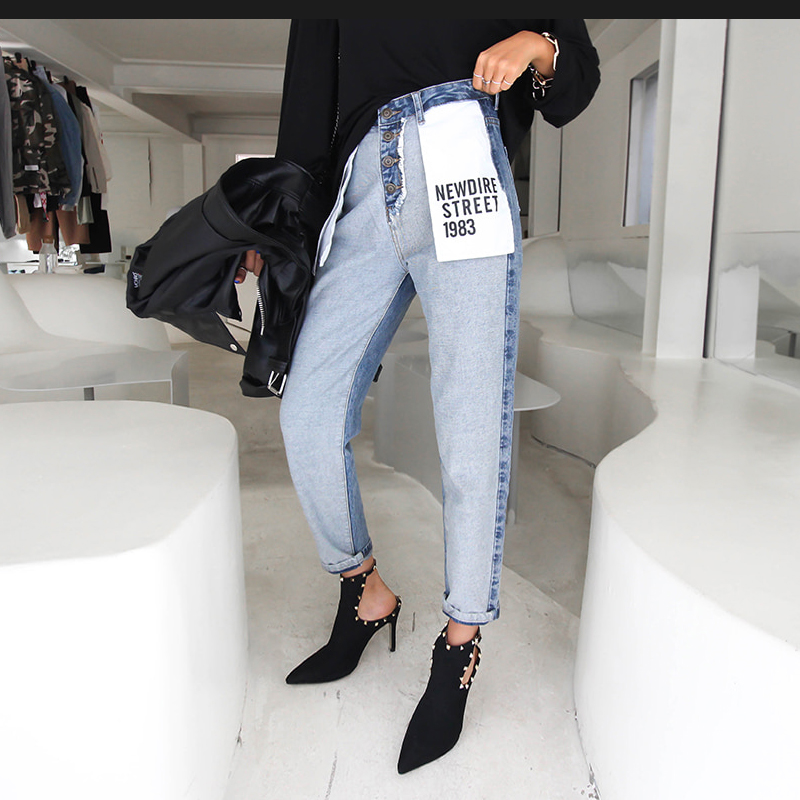 Korean Letter Pockets Woman Mom Jeans High Waist Boyfriend Jeans For Women Button Fly Jeans Patchwork Loose Straight Denim Jeans