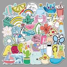 10/50PCScute cartoon girls suitcase trolley suitcase laptop graffiti stickers pink series aesthetic journal decor travel sticker