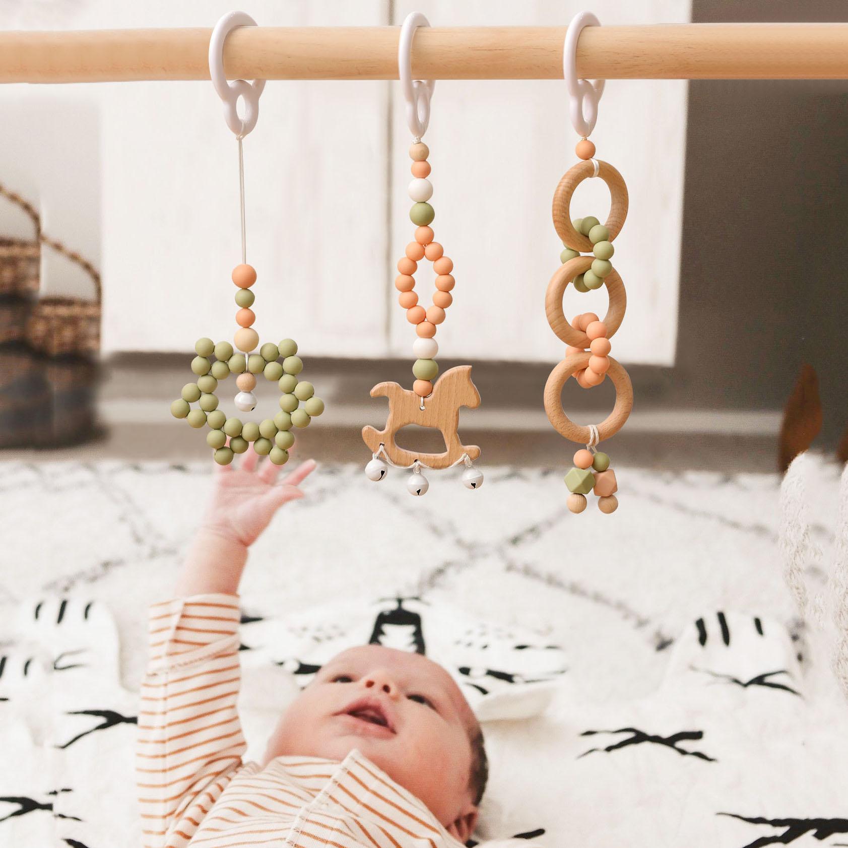 3 pcs/set Baby Gym Frame Stroller Hanging Pendants Wooden Horse Star Infant Teething Nursing Rattle Toys Newborn Room Decoration