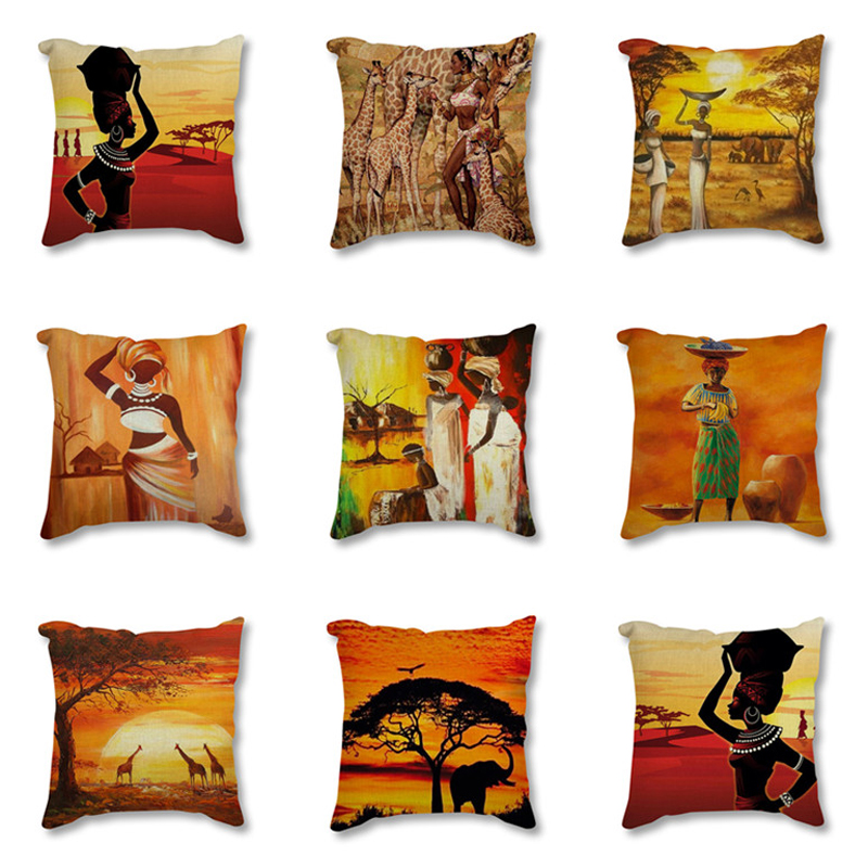 Africa Painting Art African Impression Exotic Decoration Style Sofa Throw Pillow Cover Cotton Linen Decorative Cushion Cover Cushion Cover Aliexpress