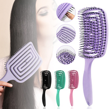 Щетка для волос, Магическая Расческа для массажа кожи головы, нейлоновая щетина для женщин, щетка для влажной и вьющейся кожи, парикмахерски...