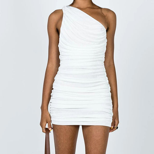 Sexy One Shoulder Mini Dress Summer Blue Orange Short Party Dress Women Sleeveless Ruched Bodycon Dress 2021 5