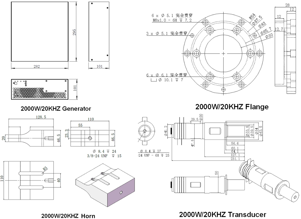 20k 2000w gerador ultrassônico, transdutor e chifre