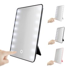 Smart LED Touch Screen Makeup Mirror Portable Luxury Vanity Mirror With 16 LED Lights 180 Degree Adjustable Table Make Up Mirror